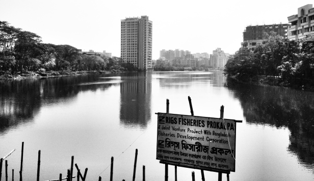 Skyscraping tenements over a  lake in Gulshan, Dhaka, Bangladesh