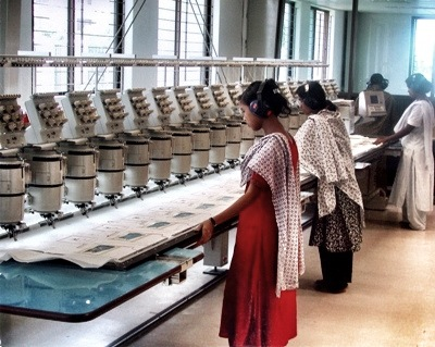 Women at the embroidery station